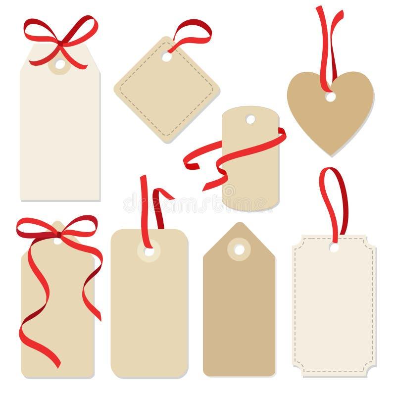 套空白的葡萄酒框架,礼物标记,与丝带的标签 向量例证