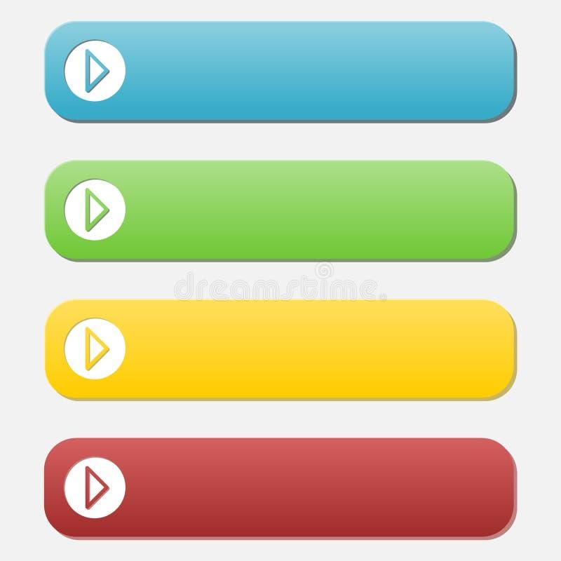 套空的按钮、蓝色、绿色、黄色和红色 向量例证