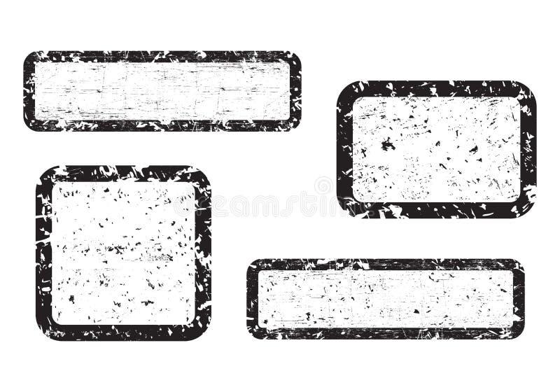 套空的难看的东西邮票,图形设计元素,在白色背景,例证染黑隔绝 库存例证