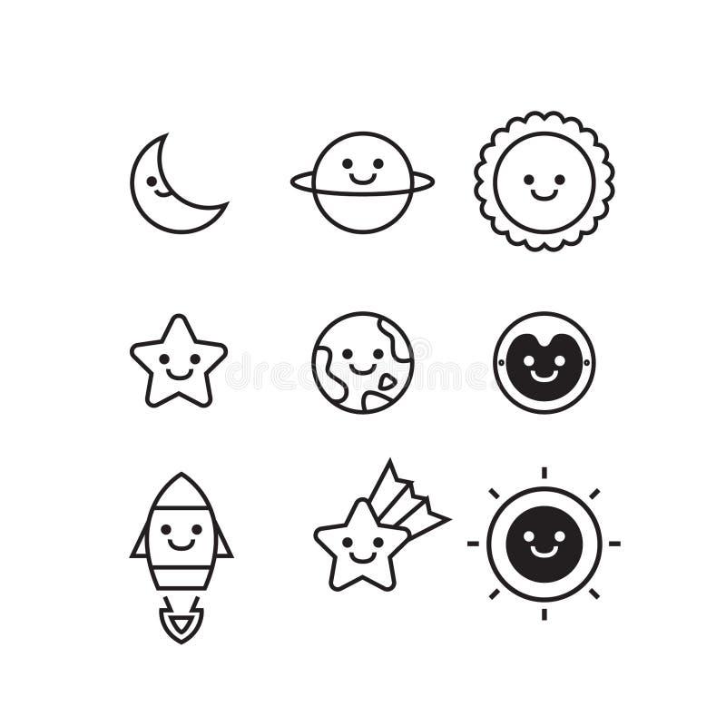 套空间和星系对象象在白色背景、逗人喜爱的传染媒介和最小的样式设计 免版税图库摄影