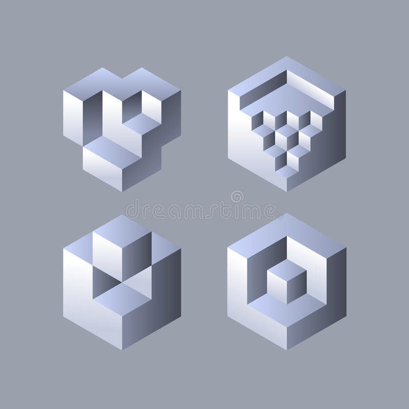 套立方体对象 库存例证