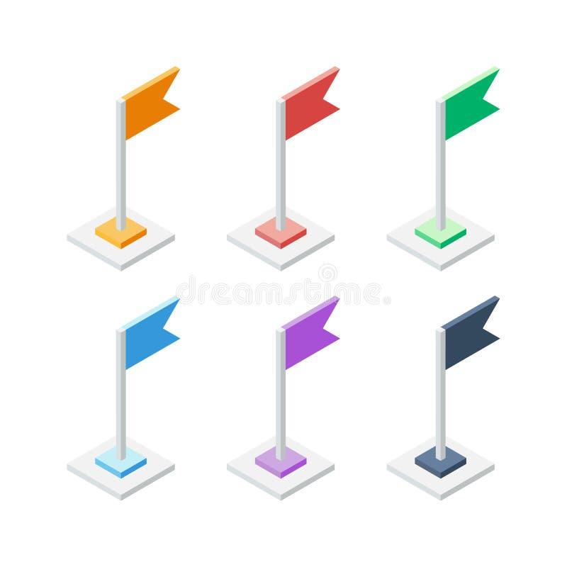 套等量旗子尖 地点标志标志 向量例证