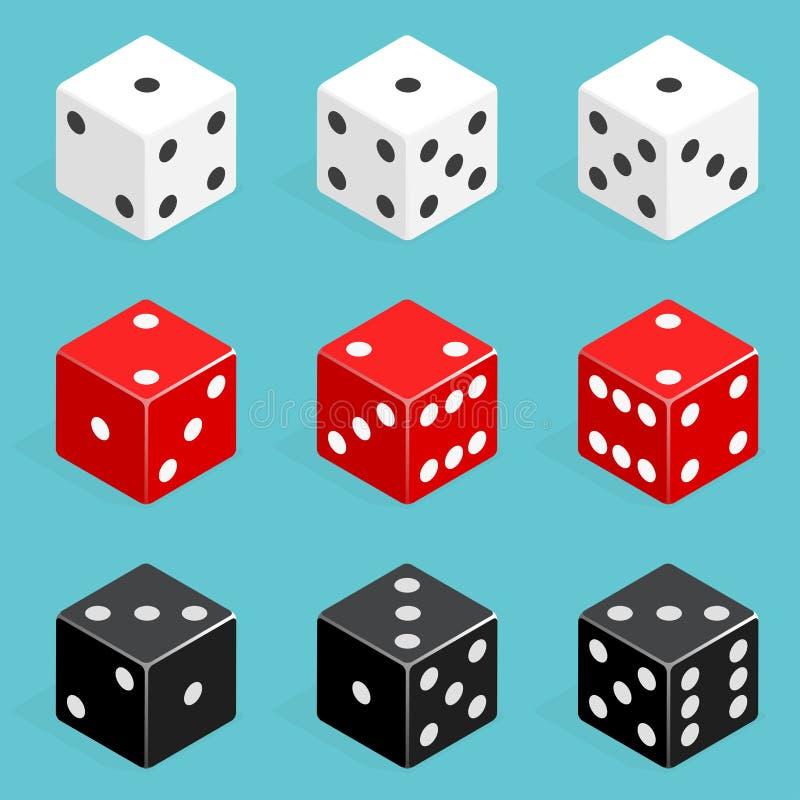 套等量模子组合 求传染媒介的立方被隔绝的红色,白色和黑啤牌 皇族释放例证