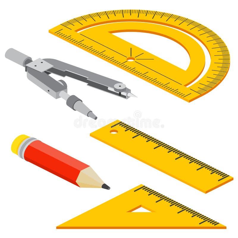 套等量测量的工具:统治者、三角、分度器、铅笔和圆规 传染媒介被隔绝的学校仪器 皇族释放例证