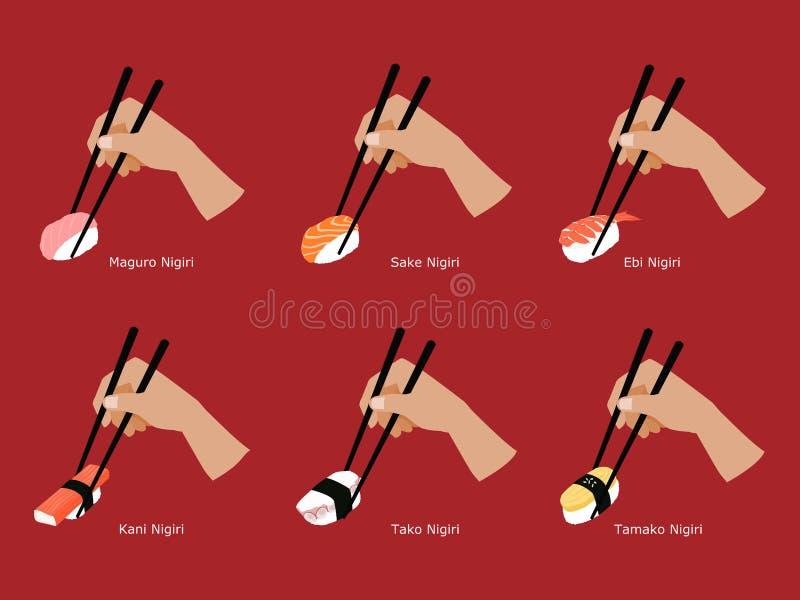套筷子劫掠的Nigiri寿司 向量例证