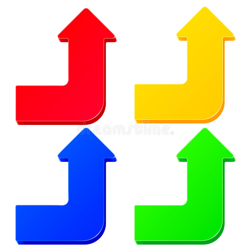 套简单的五颜六色的箭头 皇族释放例证