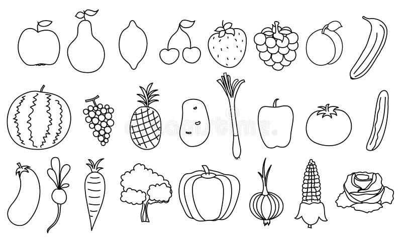 套简单的图画水果和蔬菜 库存例证