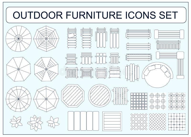 套简单的室外家具传染媒介象当设计元素 皇族释放例证
