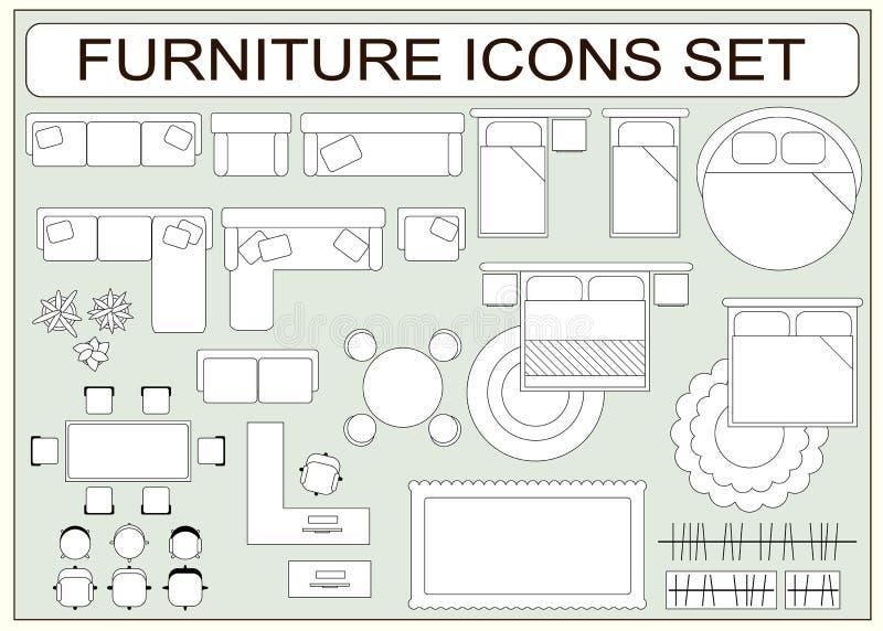 套简单的家具传染媒介象当设计元素 向量例证