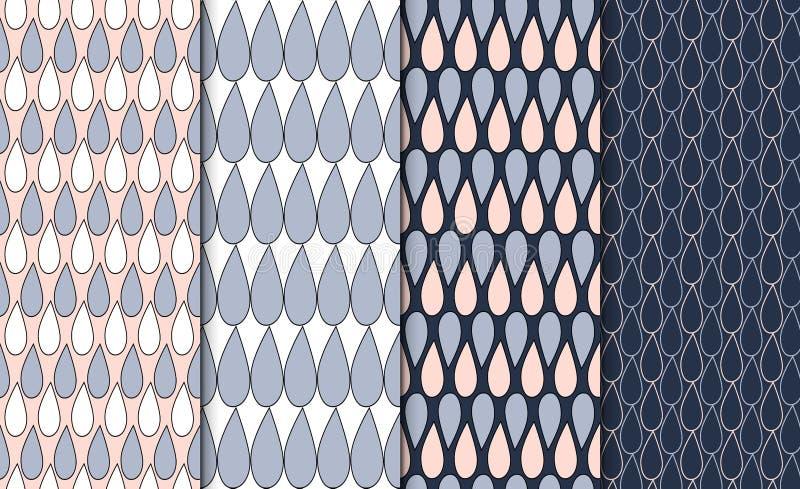 套简单的被概述的几何样式 线性minimalistic背景集合 与下落主题的4重复的纹理 向量例证