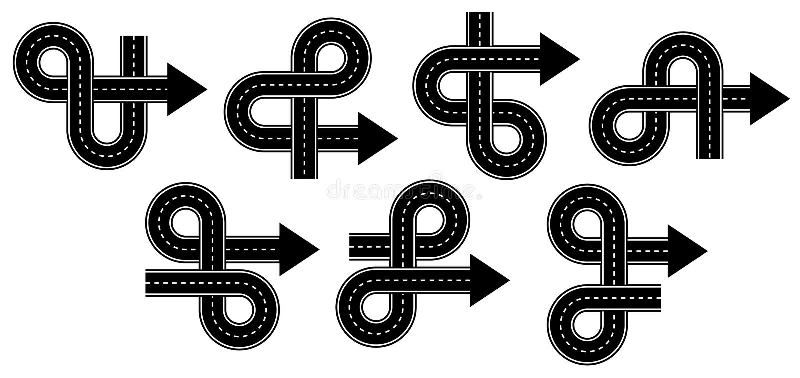 套箭头带领用不同的方向的由路制成 商标的标志 库存例证