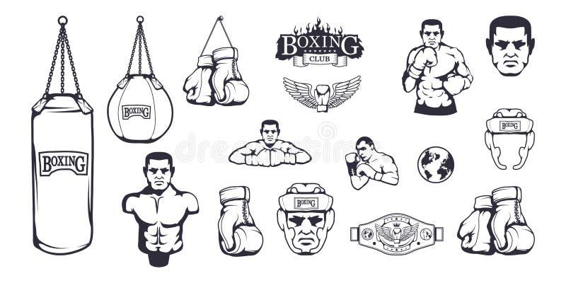 套箱子设计的不同的元素-拳击盔甲,沙袋,拳击手套,拳击传送带,拳击手人 皇族释放例证