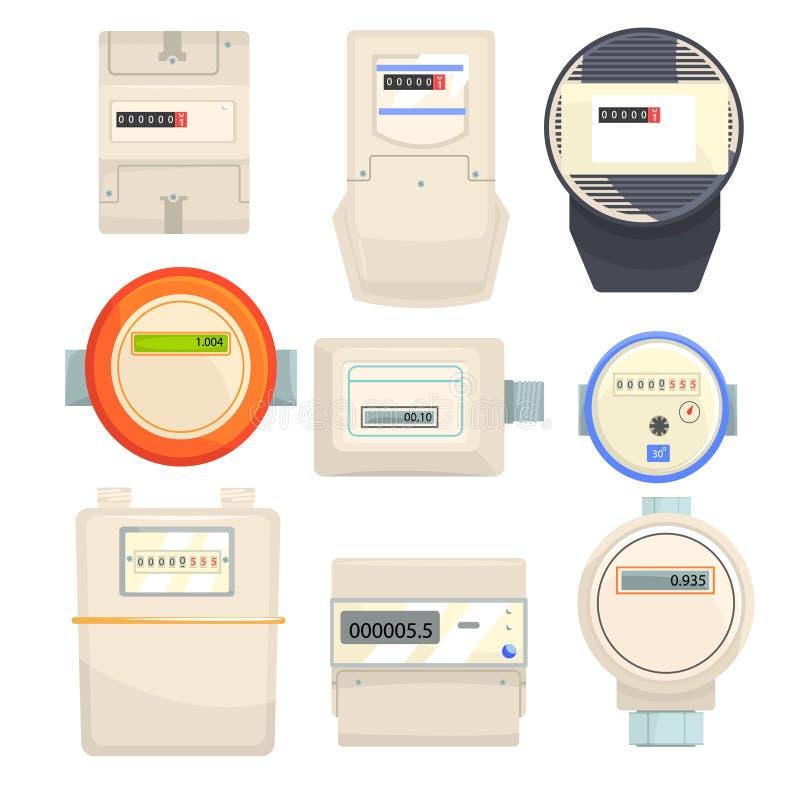 套米,机械和电子柜台导航例证 皇族释放例证