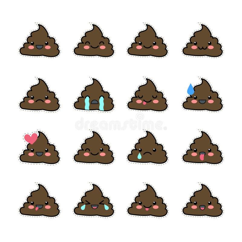 套粪象,微笑的面孔,标志, emoji,意思号,传染媒介例证 库存例证