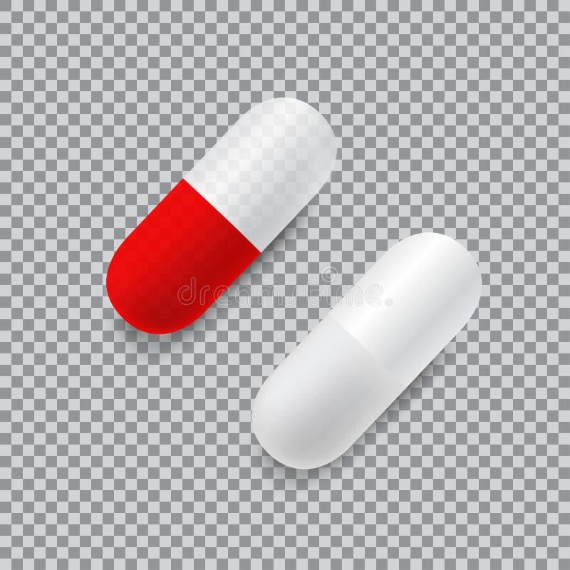 套红色和白色传染媒介现实药片 皇族释放例证