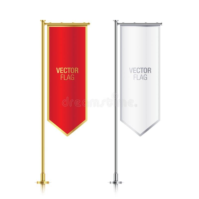 套红色和白色vetical旗子传染媒介模板 皇族释放例证