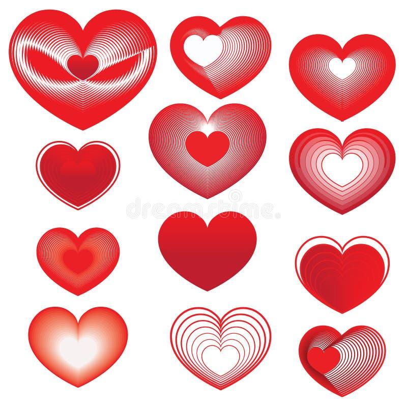 套红色心脏为情人节 库存照片