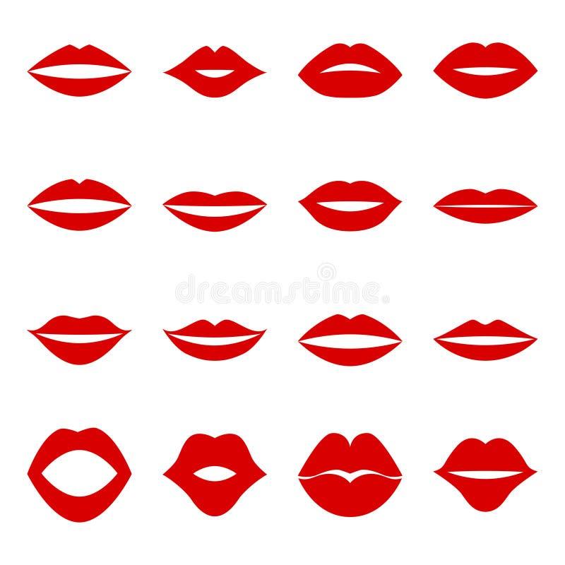 套红色嘴唇,例证 库存例证