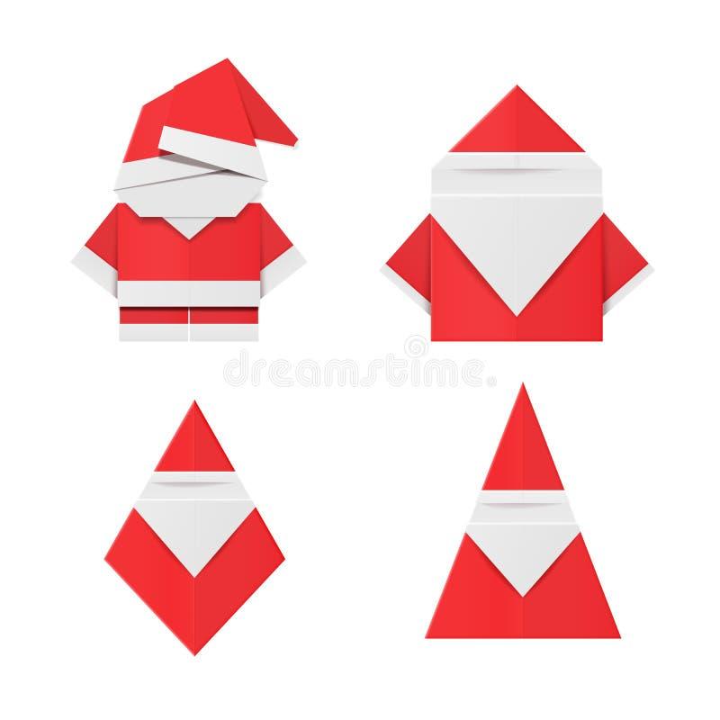 套红色origami圣诞老人 纸圣诞节装饰玩具 向量例证