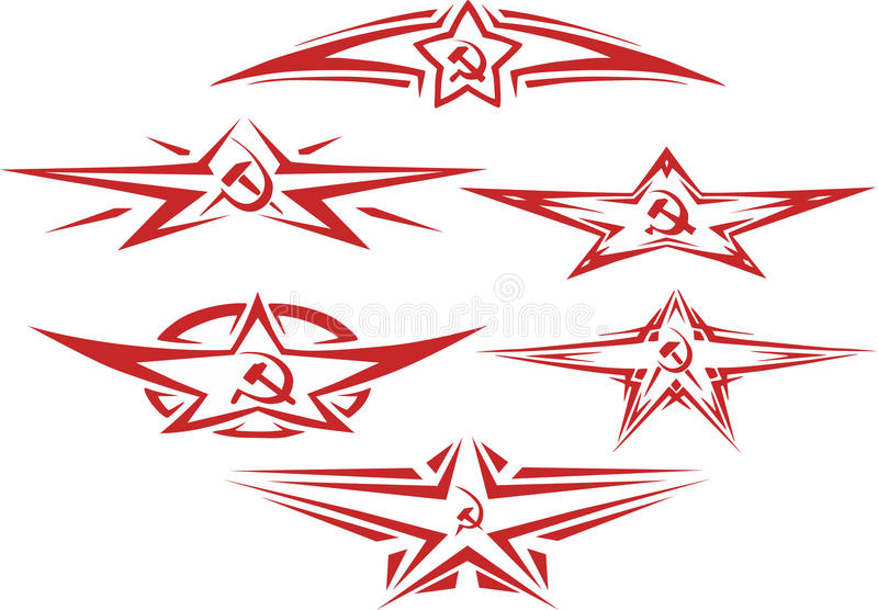 套红颜色苏联星小插图 向量例证