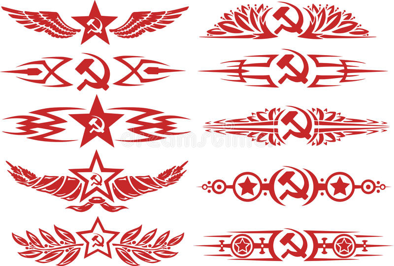 套红颜色苏维埃小插图 皇族释放例证