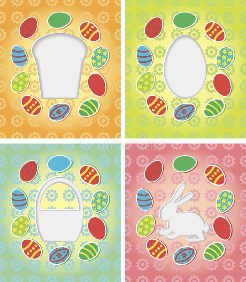 套纸牌用复活节彩蛋,兔宝宝,蛋糕 库存例证