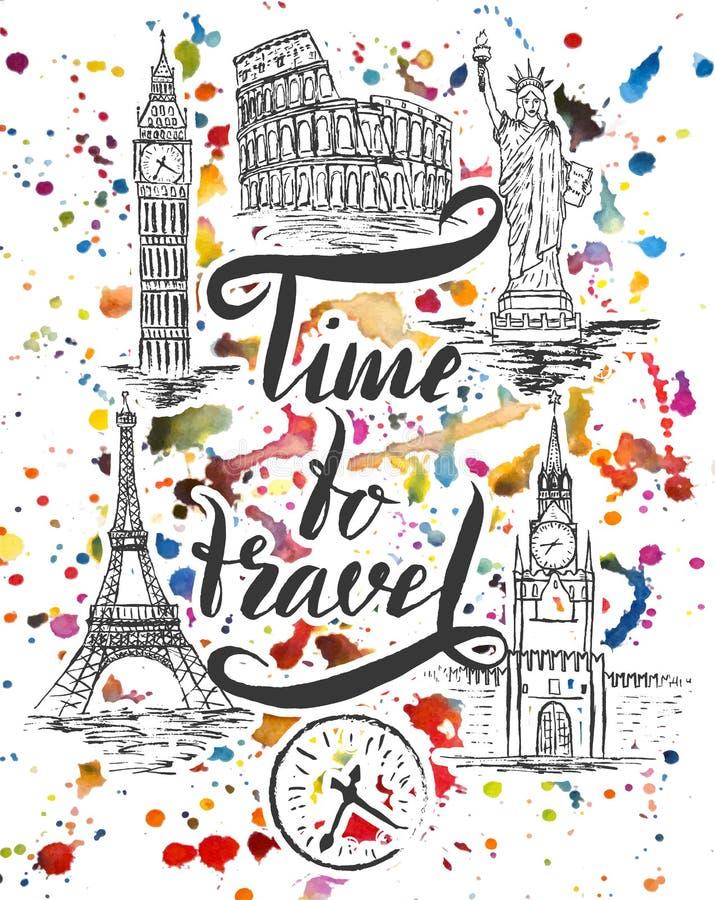 套纽约,莫斯科,巴黎,罗马,伦敦地标,在上写字在刷子笔时候旅行之前 向量例证