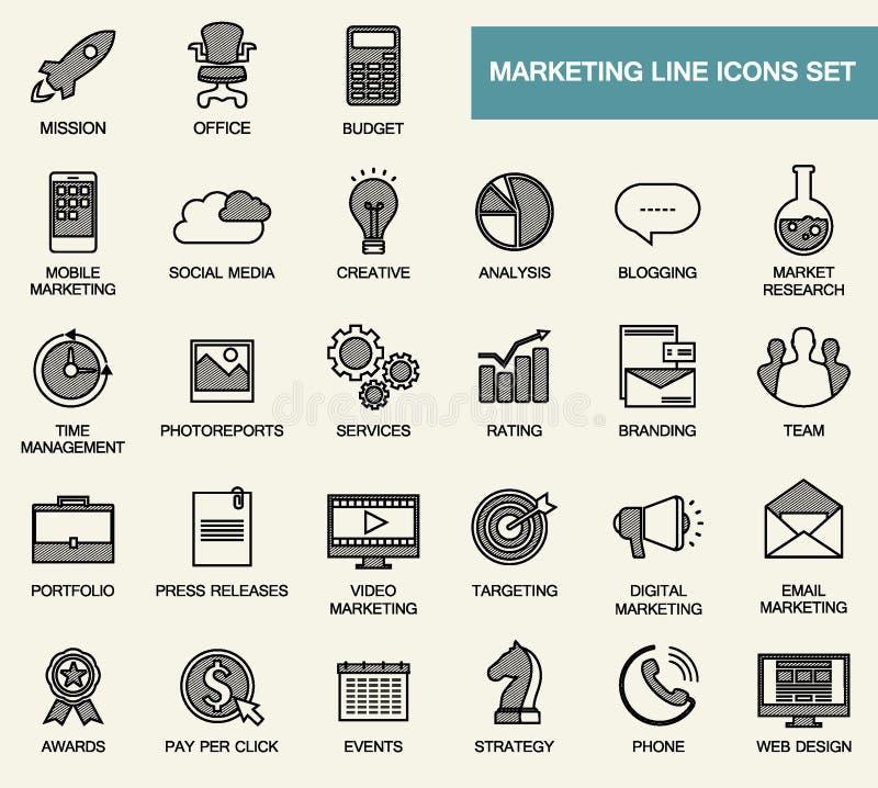 套线互联网行销、媒介和事务的平的设计象 库存例证