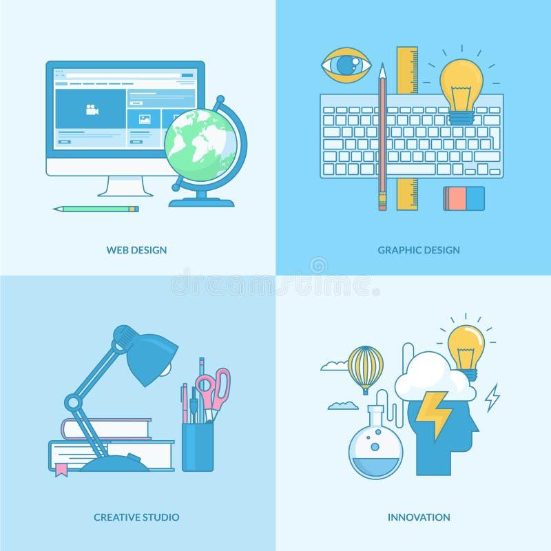 套线图表和网络设计的概念象 库存例证