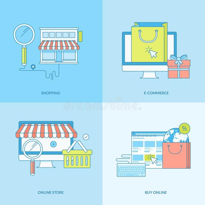 套线网上购物的概念象 向量例证