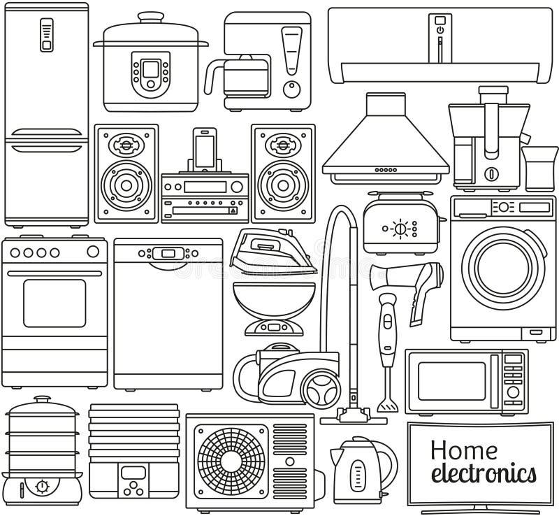 套线象 工具设计家图标厨房设置了您 烤箱和多士炉、冰箱和冷冻机、火炉和洗碗机 等高象 信息图表elemen 库存例证