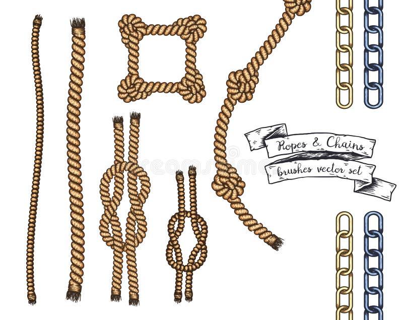 套绳索和链子手拉的编辑可能的刷子  向量例证