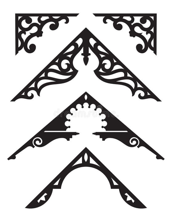 套维多利亚女王时代的姜饼建筑修剪例证 皇族释放例证