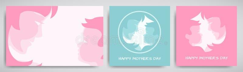 套绿色和桃红色背景或贺卡为母亲` s天 妇女和婴孩传统化了剪影,祝贺文本 皇族释放例证