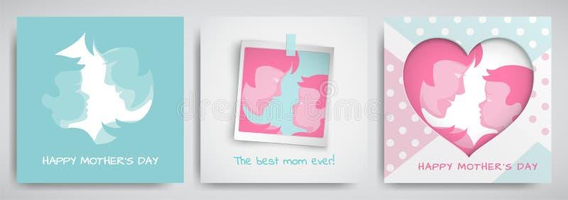 套绿色和桃红色贺卡为母亲` s天 妇女和婴孩剪影,祝贺文本, cuted心脏 库存例证