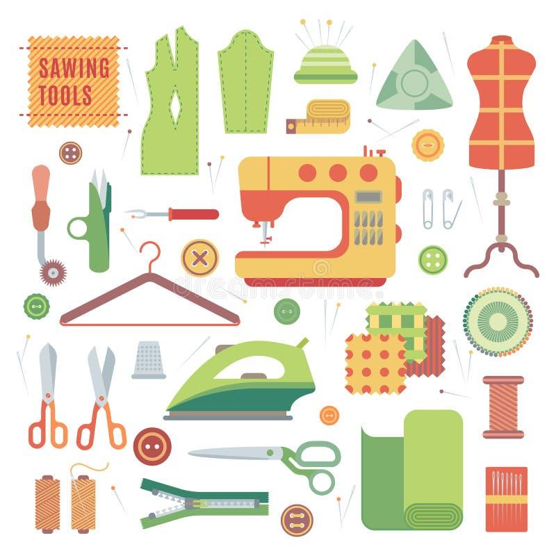 套缝纫机的辅助部件和手工制造与女装裁制业辅助部件纺织品传染媒介 向量例证