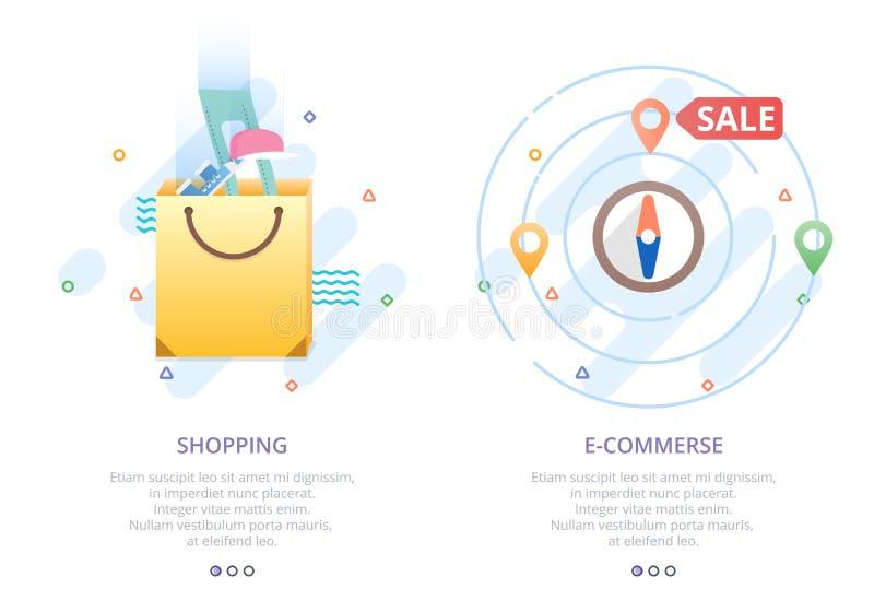 套网上购物的,电子商务, shoping的地图,购物袋,销售现代平的设计象 向量例证