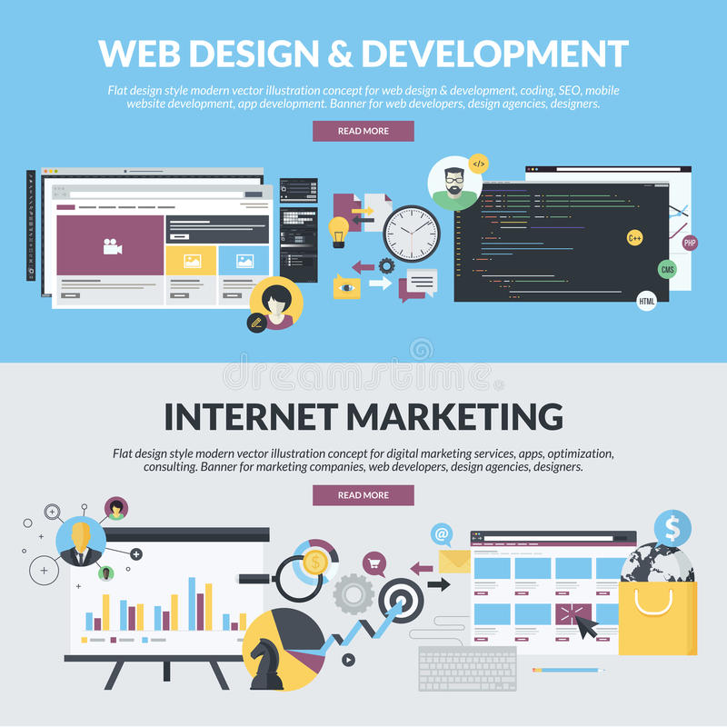 套网发展和互联网行销的平的设计样式横幅 向量例证