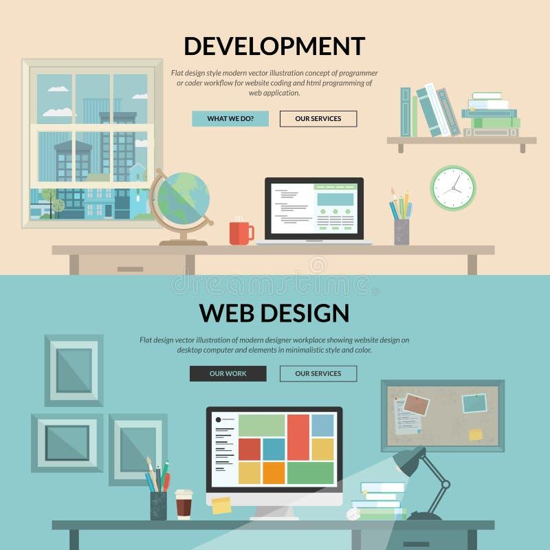 套网发展的平的设计观念 向量例证