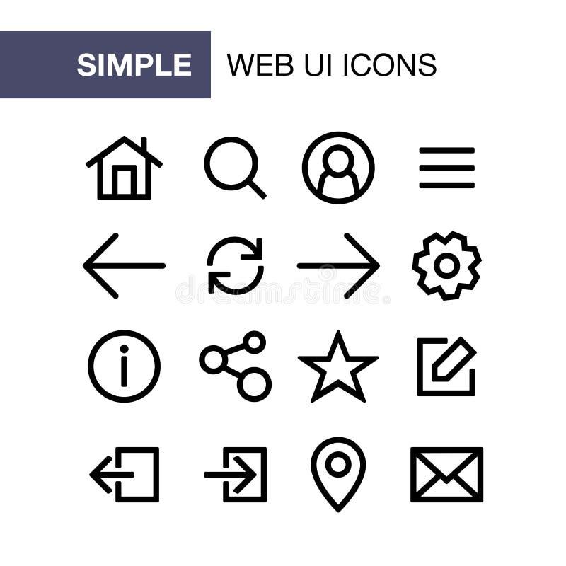 套网和简单的平的样式ui的流动应用象设计 向量例证