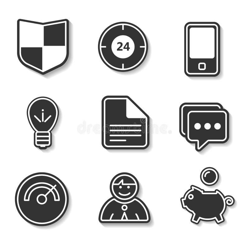 套网站和应用的黑白平的象 库存例证