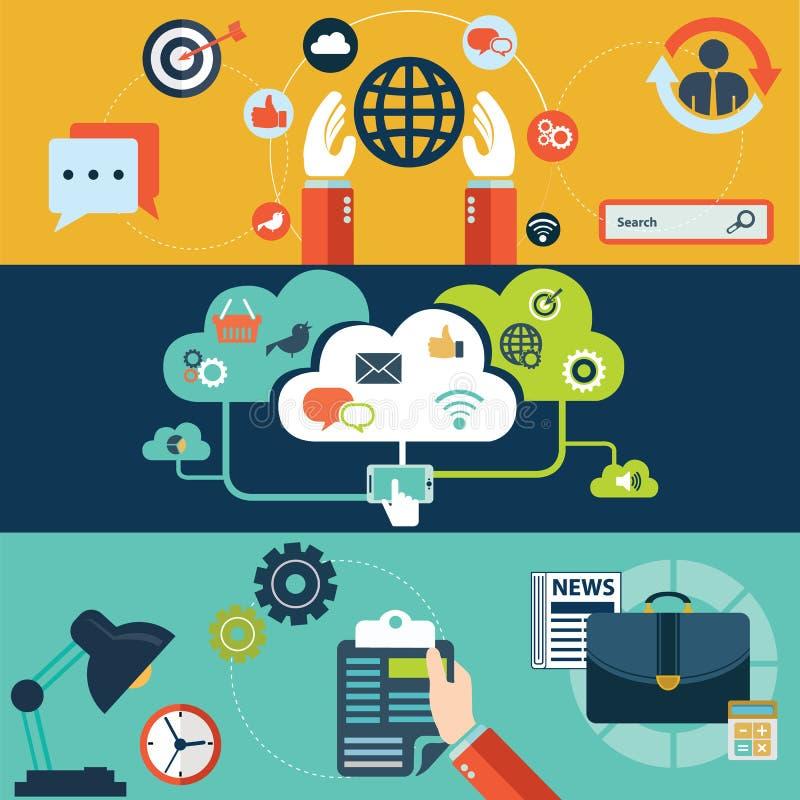 套网站布局、手机服务和apps的,计算机片剂平的设计传染媒介例证概念 库存例证