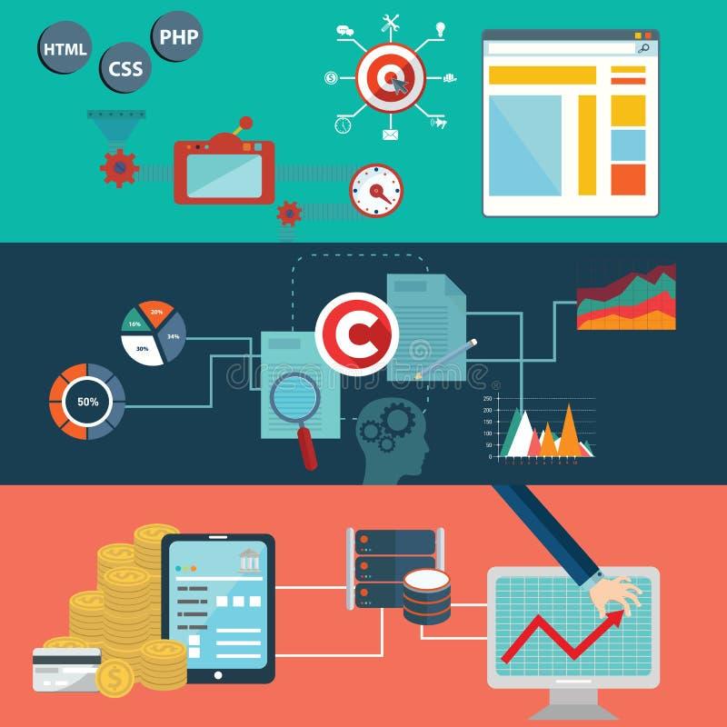 套网站布局的平的设计传染媒介例证概念、手机服务和apps和计算机片剂为a服务 向量例证