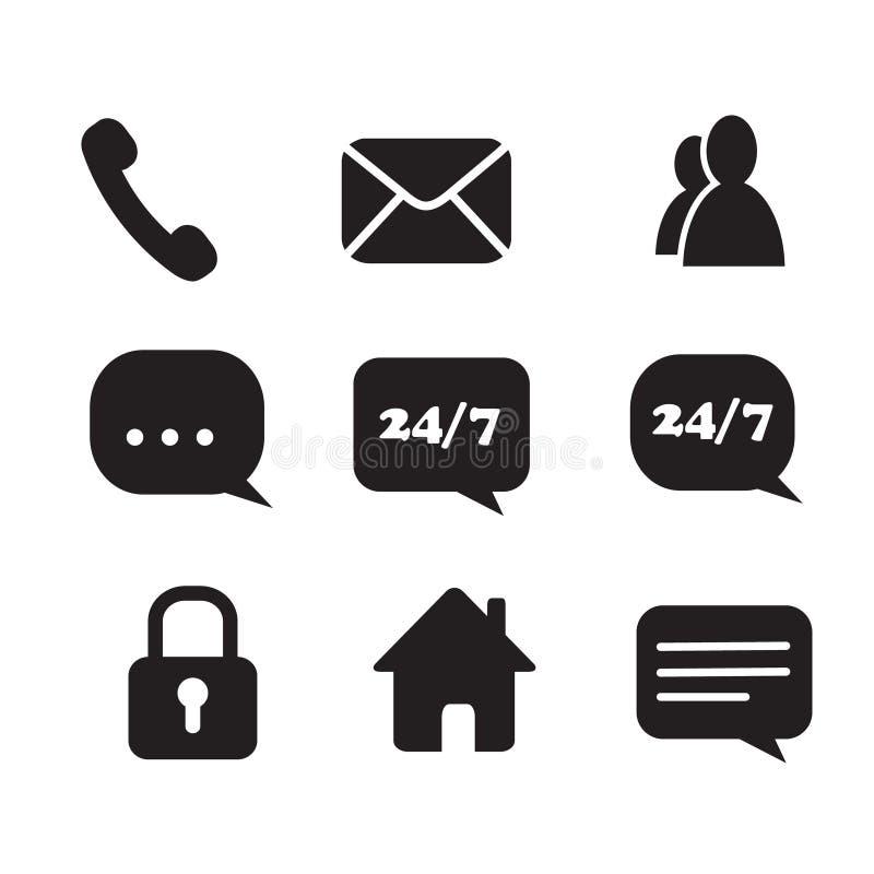 套网象与标志汇集黑白电话联系 向量例证