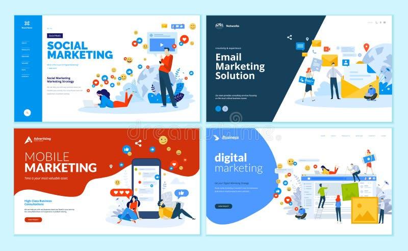套网页数字式行销,流动解答、网络和电子邮件行销的设计模板 皇族释放例证
