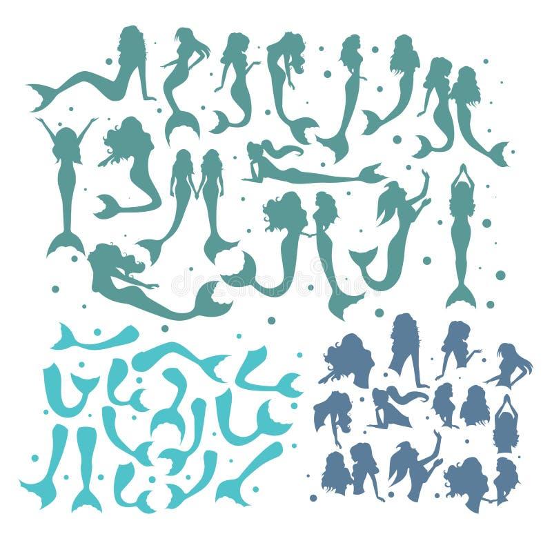 套美人鱼尾巴和身体 向量例证
