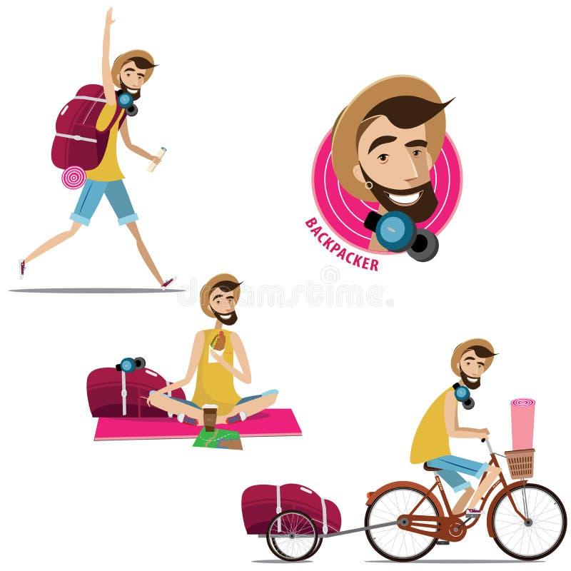 套背包徒步旅行者 向量例证