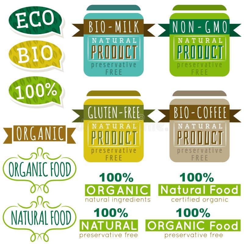 套自然有机产品标签和象征 向量例证