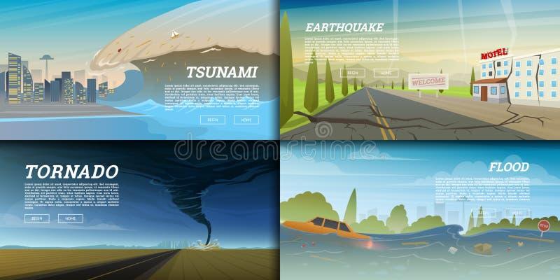 套自然灾害或剧变 浩劫和危机背景 现实龙卷风或风暴,雷击 库存例证