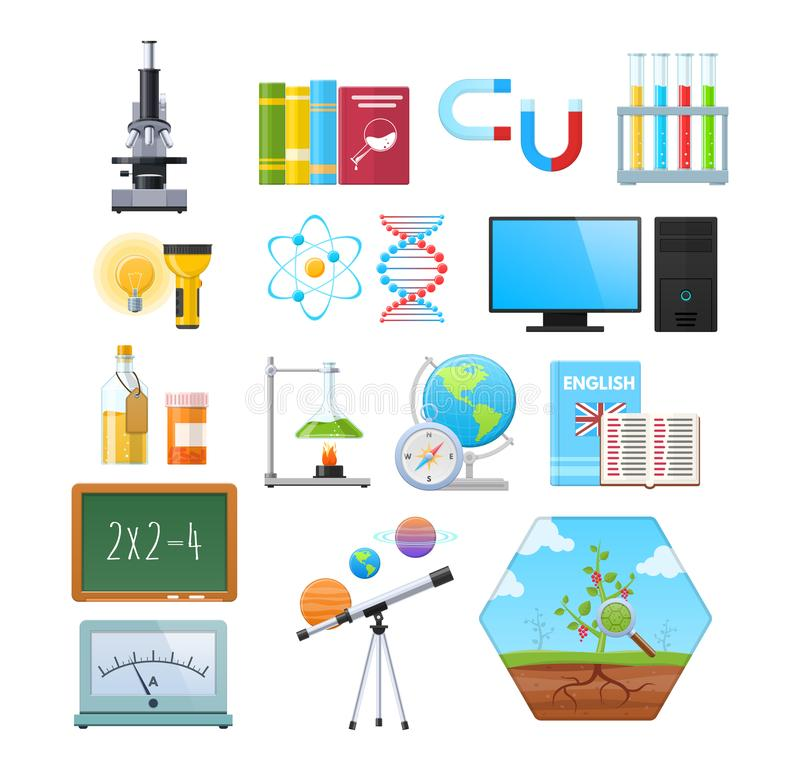 套自然科学对象  教育,科学,研究信息 向量例证